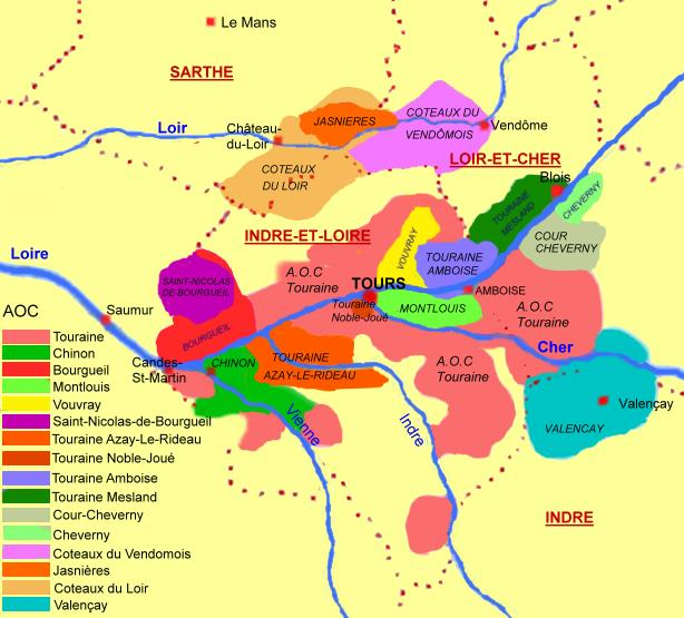Carte des appellations viticoles de Touraine - © M.CRIVELLARO