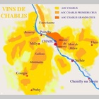 Carte des appellations viticoles de Chablis